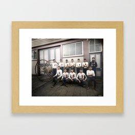 Vancouver volunteer fire brigade – hose reel racing team c.1890 Framed Art Print
