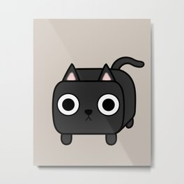 Cat Loaf - Black Kitty Metal Print