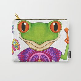 Peace Frog - Colorful Hippie Frog Art by Thaneeya McArdle Carry-All Pouch