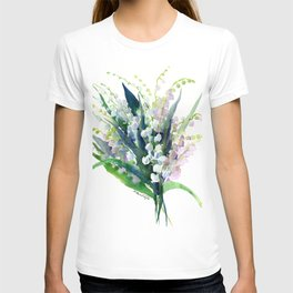 Lilies of the Valley, spring floral design flowers sring design wood flowers T-shirt