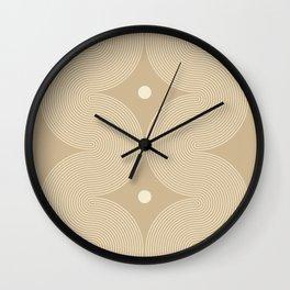 Geometric Lines in Beige 5 Wall Clock