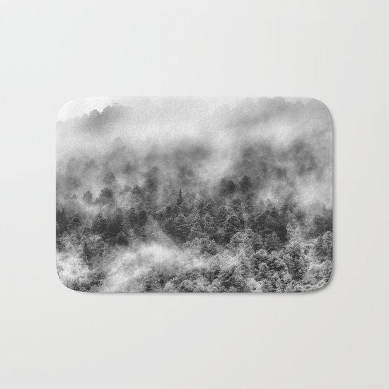 """""""Mountain light III BW"""". Foggy forest. Bath Mat"""