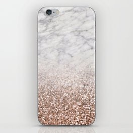 Bold ombre rose gold glitter - white marble iPhone Skin