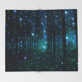 Glowing Space Woods Throw Blanket