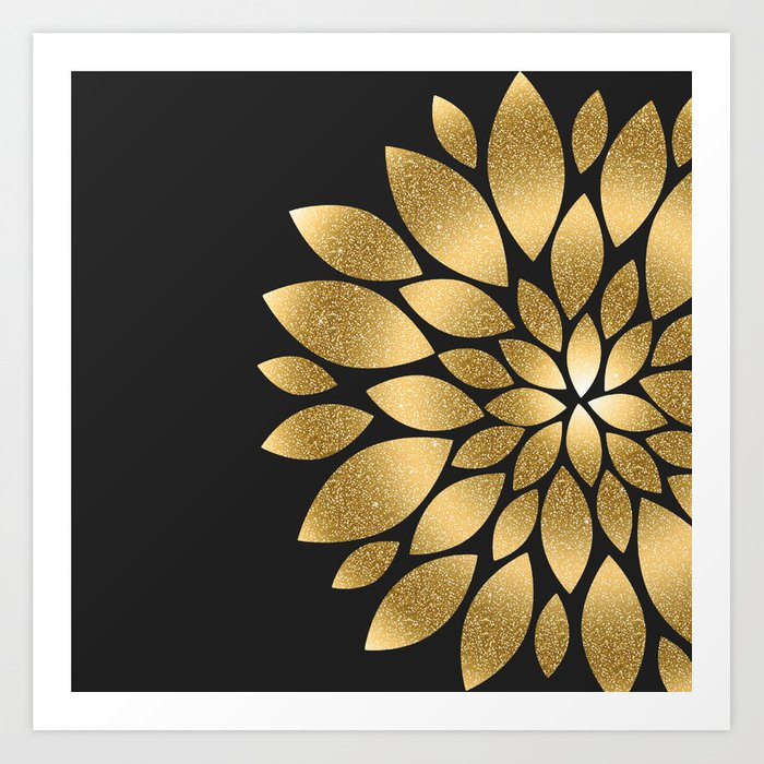 Pretty gold faux glitter abstract flower illustration Kunstdrucke