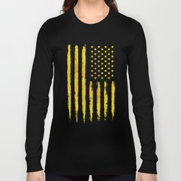 Gold grunge american flag Long Sleeve T-shirt