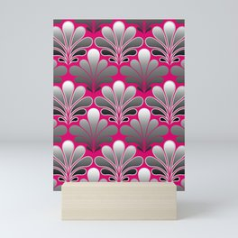 Art Deco Shell Pattern, Silver Gray and Fuchsia Pink Mini Art Print