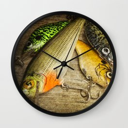 Dad's Fishing Crankbaits Wall Clock