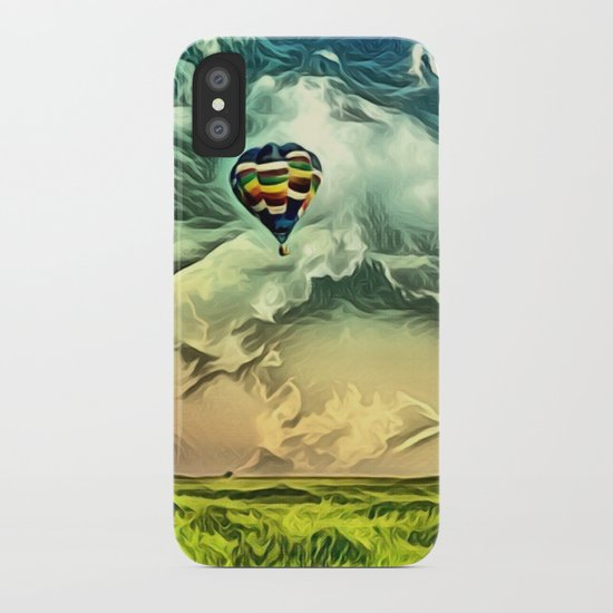 Air Balloon in the Sky with Clouds over the Landscape iPhone Case