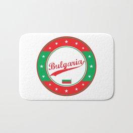 Bulgaria, circle, white, with flag Bath Mat