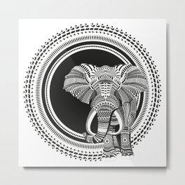 Calligraphic Elephant Metal Print