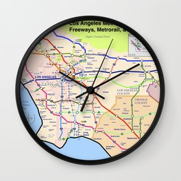 A subway style Map of Los Angeles Wall Clock
