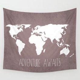 Adventure Awaits World Map Wall Tapestry