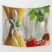 pasta Wall Tapestries featuring delicious pasta by Tanja Riedel