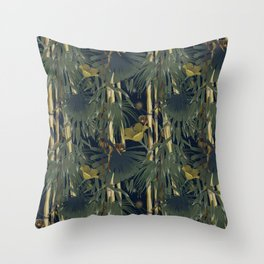 Bamboo, palm leaves and lion tamarin Throw Pillow