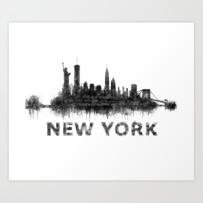 Ny New York City Skyline Nyc Black White Watercolor Art Print By Hqphoto Society6