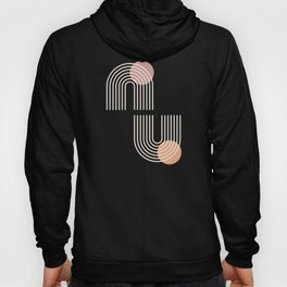 White rainbow arches and suns on dark terracotta  Hoody