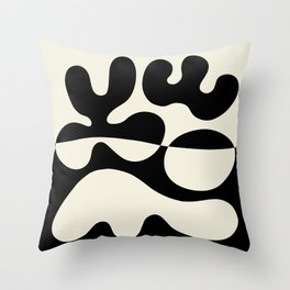 Mid Century Modern Organic Abstraction 235 Black and Linen Throw Pillow