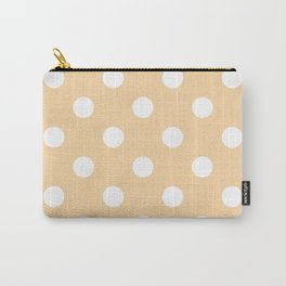Polka Dots - White on Sunset Orange Carry-All Pouch