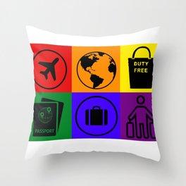 Rainbow travel icons  Throw Pillow