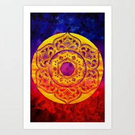 """SACRED GEOMETRY"" WATERCOLOR MANDALA (HAND PAINTED) BY ILSE QUEZADA Art Print"