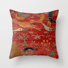 Animal Grotesques Mughal Carpet Fragment Digital Painting Throw Pillow