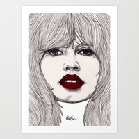 godard Art Prints featuring Brigitte with Red Lips by Paul Nelson-Esch Art