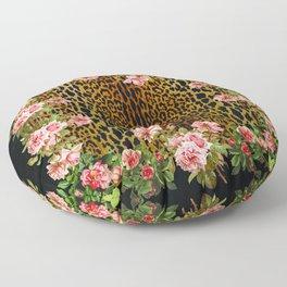 Rose around the Leopard Floor Pillow
