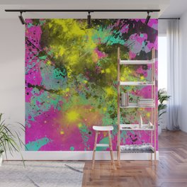 Stargazer - Abstract cyan, black, purple and yellow oil painting Wall Mural