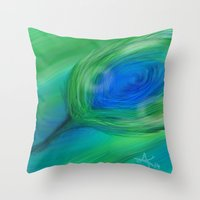 peacock Throw Pillows featuring Peacock by ANoelleJay