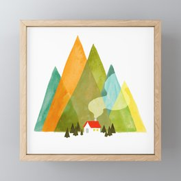 House at the foot of the mountains Framed Mini Art Print