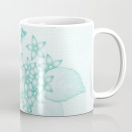 teal flowers and butterflies on subtle textured background Coffee Mug