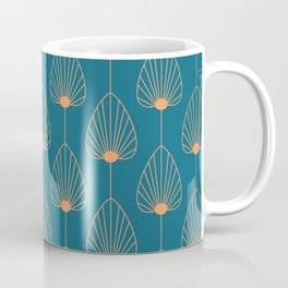 Vintage Copper & Turquoise Art Deco Floral Coffee Mug