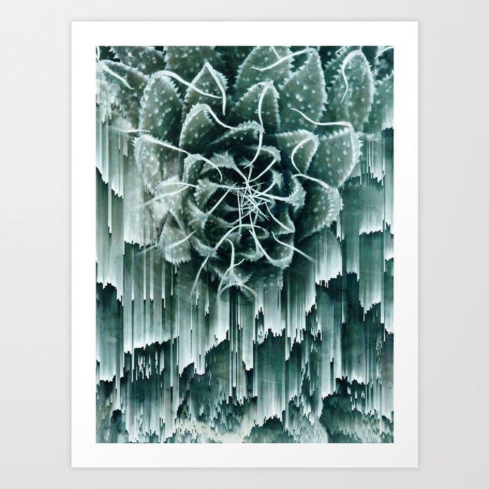 Succulent Glitches Art Print