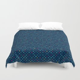 LOTS OF DOTS / prussian blue / turquoise green / deep red / yellow Duvet Cover