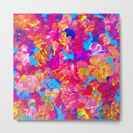 FLORAL FANTASY Bold Abstract Flowers Acrylic Textural Painting Neon Pink Turquoise Feminine Art Metal Print