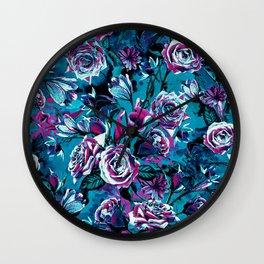 RPE FLORAL VIII BLUE Wall Clock