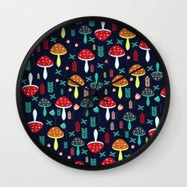 Multicolored mushrooms Wall Clock