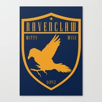 ravenclaw Canvas Prints featuring Ravenclaw Crest by machmigo