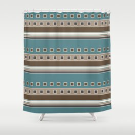 Squares And Stripes In Brown Teal Shower Curtain