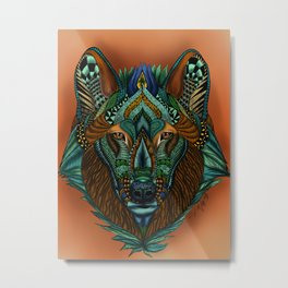 Zentangle Inspired Art-Colored Wolf Metal Print