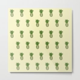 Yellow Pineapple Pattern Metal Print