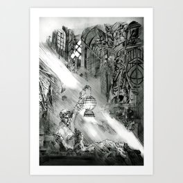 Frankestein - based on the wonderful work of Bernie Wrightson  Art Print