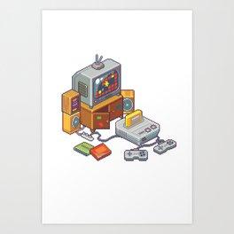 Retro gaming console Art Print