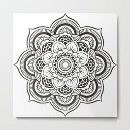 Mandala White & Black Metal Print