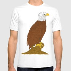 American Bald Eagle Mens Fitted Tee SMALL White