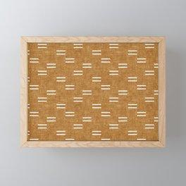 double dash on mustard Framed Mini Art Print
