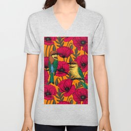 Bee eaters and poppies on orange Unisex V-Neck