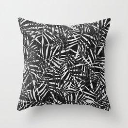 Black, White, Grey Tropical Leaves  Throw Pillow