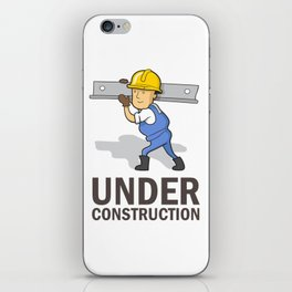 "Vector Label: Funny Worker and text ""Under Construction"" iPhone Skin"